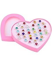 YEAHIBABY - Anillos para niñas, ajustables, con caja de corazón rosa para niña, 36 unidades