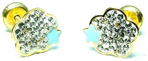 Pendientes oro 18 k niña/mujer flor con piedras engastadas de alto brillo y esmalte azul celeste. Medida de la joya 8x8 mm. Con cierre de máxima seguridad a rosca.