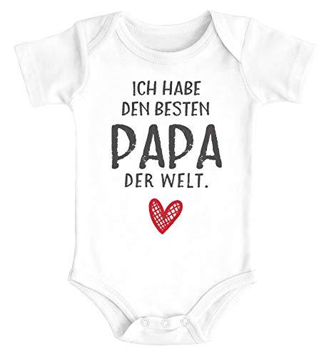 MoonWorks - Body para bebé con texto en alemán 'Ich Habe den besten Papa der Welt', regalo de cumpleaños, algodón orgánico para niños y niñas El mejor papá blanco. 0-3 Meses