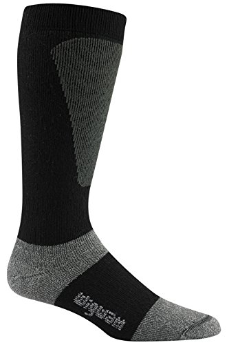 Wigwam Men's Snow Sirocco Knee High Performance Ski Sock,Black,Sock size : Large ( shoe Size : Men's 9-12 , Women's 10-13)