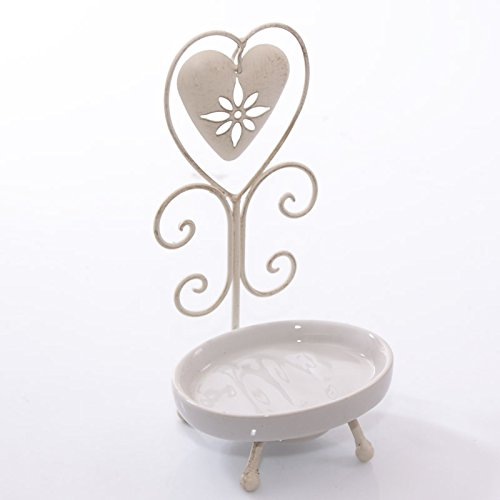 DiKasa Home Porta Sapone per bagno Cuore, Metallo, Bianco, 11x11x23 cm