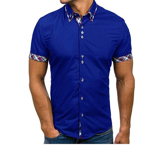 U/A Herren Doppelkragen Plaid Hemd Casual Slim Herren Kurzarm Hemd Gr. L, blau