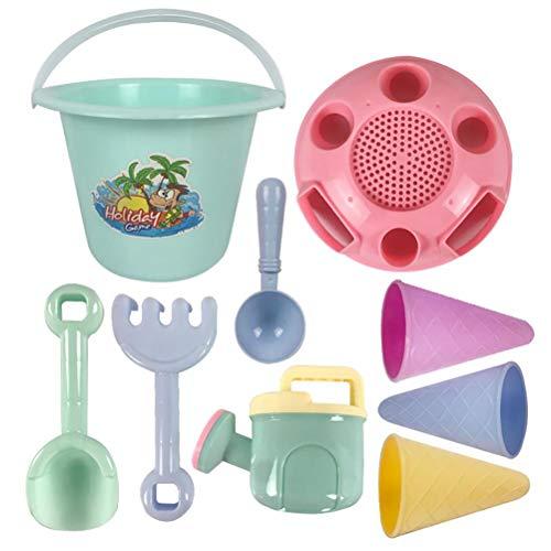 Yeeyf Juego de 9 juguetes de playa para niños, pala de playa y carritos de playa de verano,juguetes juegos agua,juegos de verano niños fiestas juguetes de arena para, pala para construir cosas nuevas