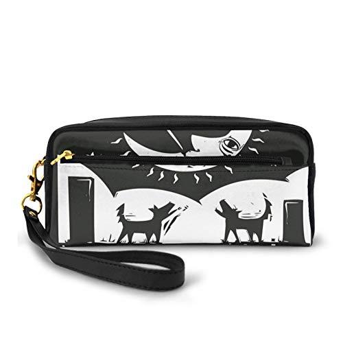 Kleine Make-up-Taschen, Geldbörse, braun-weiß, Zeichnung Hummer, Wölfe, Halbmond, Sterne, Tarotkarten-Design, PU-Leder, Reißverschluss, Reise-Kosmetiktasche und Bleistift-Organizer