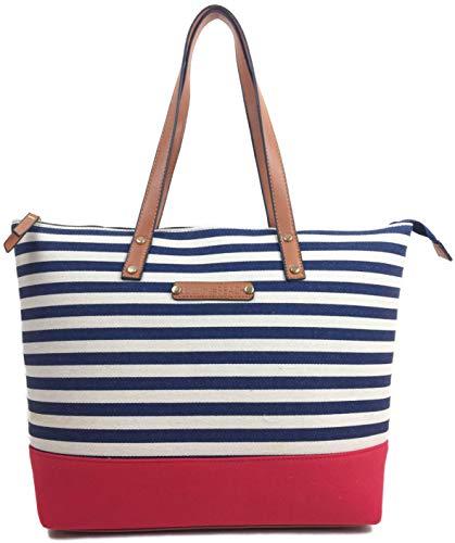 Canvas Bag Beach Bag with zips Designer tote Bag BEACH Large shoulder bag...