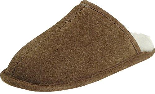 Harrys-Collection Extra Dicke Pantoffeln aus Lammfell mit Ledersohle 2 Farben, Farben:braun, Schuhgröße:44