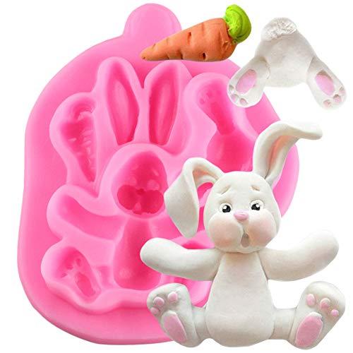 JLZK Molde de Silicona de Conejito de Conejo 3D, moldes para Tartas con Fondant, Herramientas para Magdalenas, Accesorios de Cocina