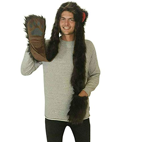 Bear Full Animal Hoodie Faux FUR Brown Hat 3-in-1 Function For Men