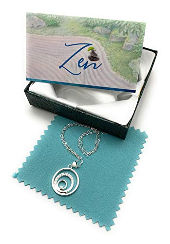 Smiling Wisdom - Zen Balance Gift Set - 3 Round Circles Balancing Necklace - Cubic Zircon - Mini Keepsake Card - Joy, Happiness, Serenity - Woman Jewelry Gifts for Her Woman Friend - .925 Silver Plated, CZ