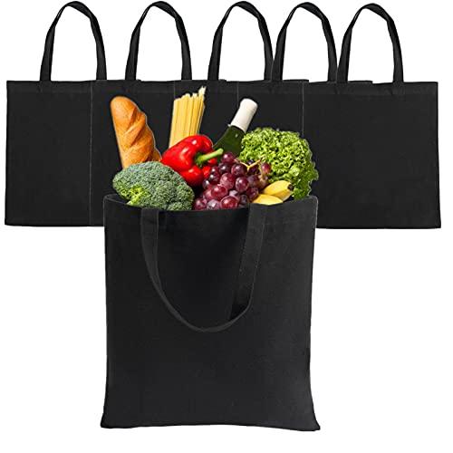 LONGBLE 5 bolsas de yute negro para la compra, grandes bolsas de algodón con asas, lona de 340 g/m², bolsa de regalo sin estampar para pintar, 37 x 34 cm