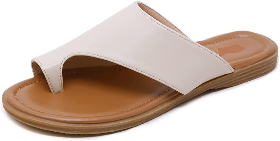 DovSnnx Women's Summer Flat Open Toe Sandals Slip On Flip Flops Sport Wedge Low Heel Shoes with Arch Support Outdoor Slippers Elastic Strap Bohemia Beach Travel Clip Toe Solid Color Beige