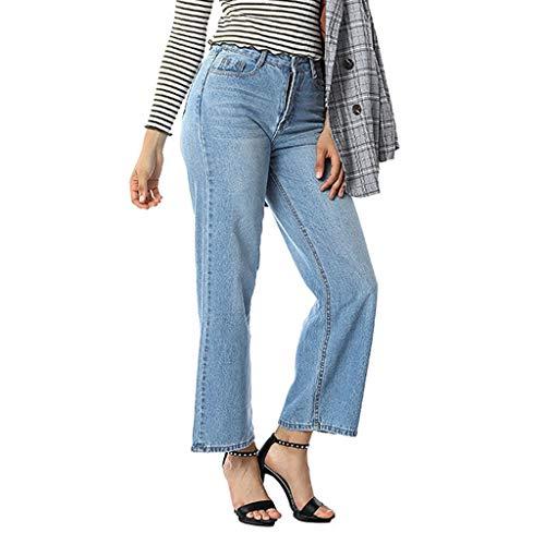 Alwayswin Frauen Lose Jeans Mode Hohe Taille Jeans Beiläufige Elegant Jeans Lange Hosen Mit Tasche Denim Jeans Stretch Länge Jeans Weite Jeans Weite Hose