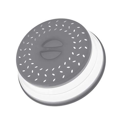 SunflowerU - Tapa para colador de alimentos, antisalpicaduras, frutas, verduras, cubierta plegable para microondas, salpicaduras, escurridor de platos, cesta de conservación fresca (gris)