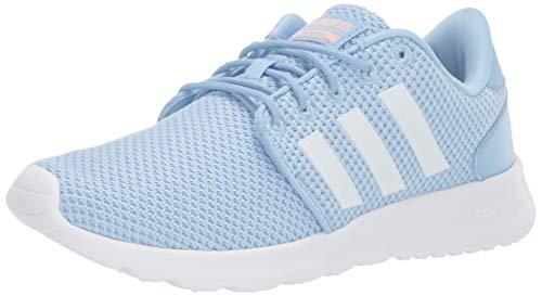 adidas Women's Cloudfoam QT Racer Running Shoe, Glow Blue/White/Glow Pink, 9 M US