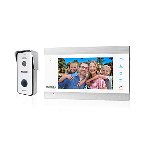 TMEZON Video Türsprechanlage Türklingel Intercom System, Türsprechanlage mit 1080P 7 Zoll 1-Monitor 1-Kamera Für 1-Familienhaus, Touch-Taste, Nachtsicht, Unterstützung automatisch Snapshot/Aufnahme
