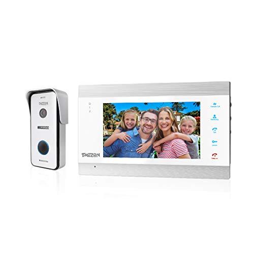 TMEZON Video Door Doorbell Intercom System, 1080P Sistema de Entrada de la Puerta con 7 Pulgadas 1-Monitor 1-Camera para la casa de 1 Familia,Botón táctil, visión Nocturna, instantánea/grabación