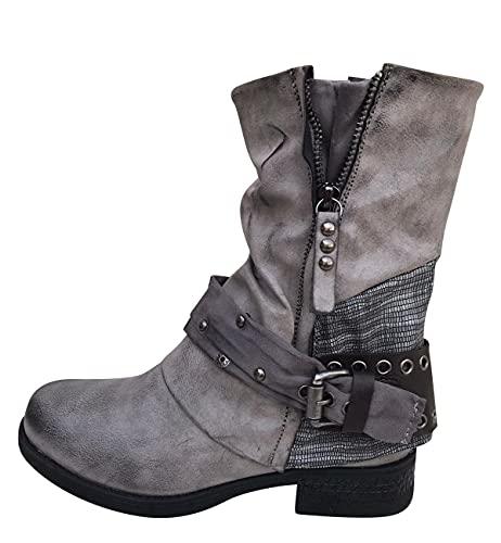 Damen Stiefeletten Biker Boots Stiefel mit Nieten Frauen Schuhe Blockabsatz Herbst Winter Bequeme Schuhe Schnallen - ST04 - Grau - Größe 39