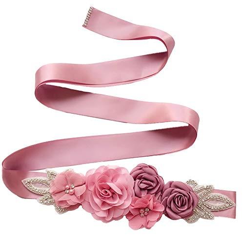 BIGBOBA. Elegante Cinturón De Mujer Con La Flor Rosa-Múltiples Colores Elegante Cinturón Para Decorativa Falda De Verano