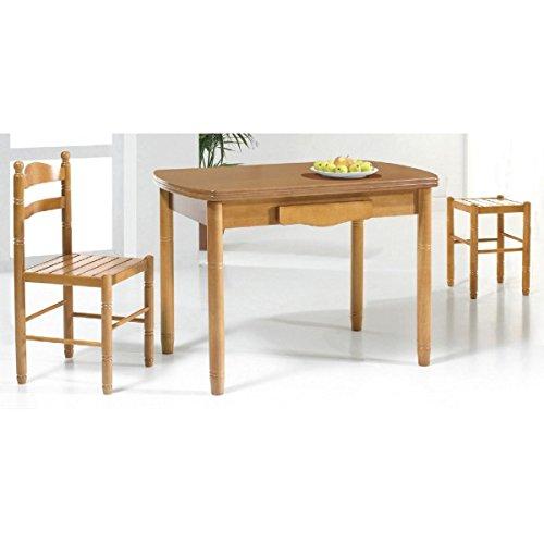 SHIITO Mesa de Cocina Extensible 110 x 70 cm con alas ovaladas y cajón acabada en Madera barnizada. Disponible en Varios Tonos de Madera.