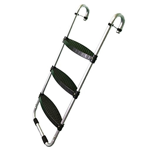 Trampoline Pro Wide 3-Step Trampoline Ladder with Safety-Latch plus No-Slip Steps plus Cooler Surface