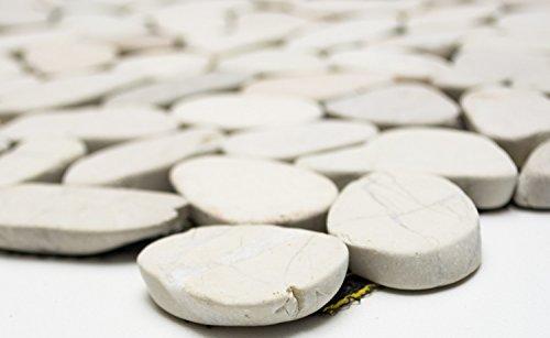 Mosaik Kiesel geschnitten uni weiss 5/7 Flußkiesel Steinkiesel Flussstein Kieselmosaik, Mosaikstein Format: 30-70x9 mm, Bogengröße: 305x305 mm, 1 Bogen/Matte