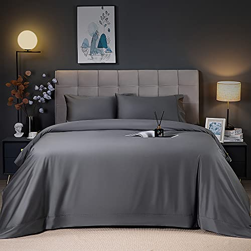 Shilucheng Cooling Breathable Bamboo Bed Sheets Set - Queen Size,1800 Thread Count Super Silky Soft with 16 Inch Deep Pocket, Machine Washable, 4 Piece(Queen,Dark Grey)