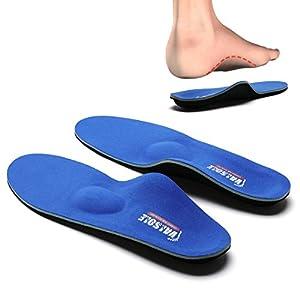 Valsole Plantillas Ortopédicas soportes de arco y talones la absorción de choque- para el dolor de talón, pie plano, Fascitis Plantar, dolor de rodilla y espalda (38-39 EU (250mm), V107B-Azul)