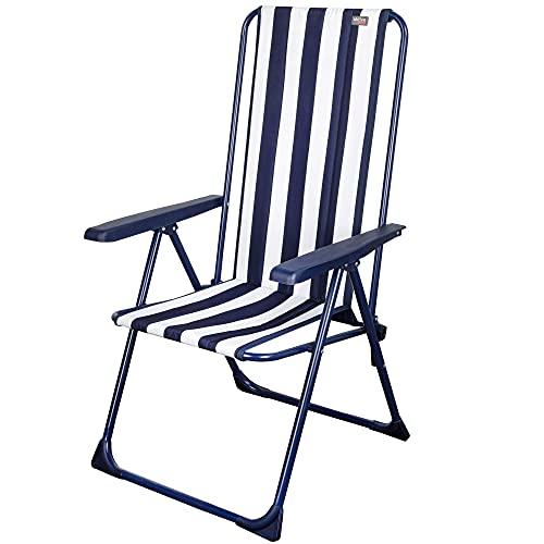Aktive 62615 - Silla plegable de jardín, Silla multiposición, 5 posiciones, mide 59 x 59 x 105 cm, diseño marinero con rayas blanca y azules, con topes antivuelco, Aktive Graden