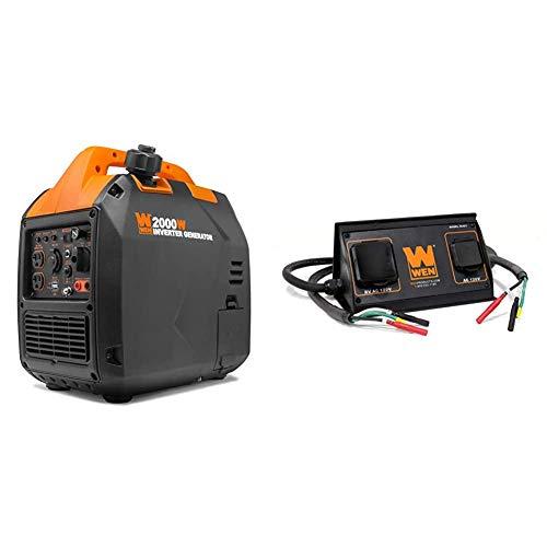 WEN 56203i Super Quiet 2000-Watt Portable Inverter Generator w/Fuel Shut Off, CARB Compliant, Ultra Lightweight & 56421 30-Amp 3600-Watt Parallel Connection Kit for Inverter Generators