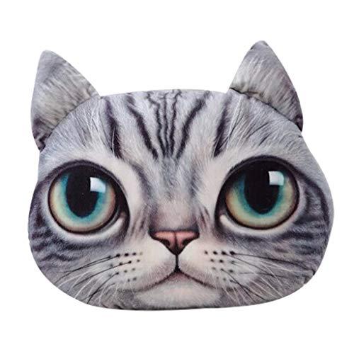 Deloito Lustiges 3D Katzen Dekokissen Plüsch Polster Puppe Geschenk Niedliches Tierkissen Autosofa Dekorativ Kissen Wohnkultur (F,33×38cm)