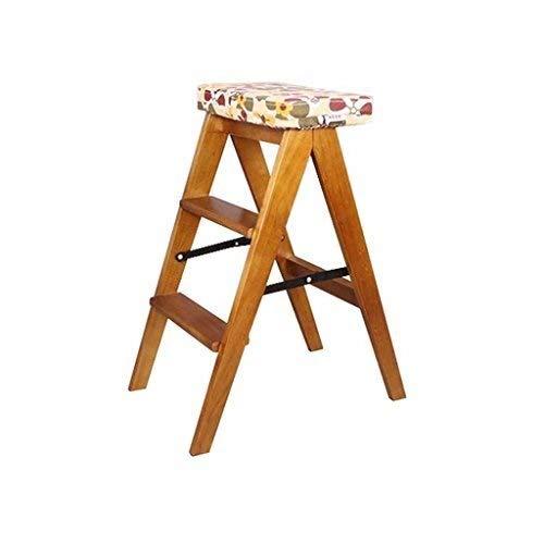 Taburete Escalera Escalerillas 2 Escalera de mano Taburete de madera portátil Taburete plegable de usos múltiples y ligeros Biblioteca de casa