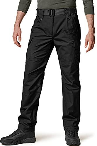CQR Men's Tactical Pants, Water Repellent Ripstop Cargo Pants, Lightweight EDC Hiking Work Pants, Outdoor Apparel, Duratex Ripstop Black, 34W x 32L