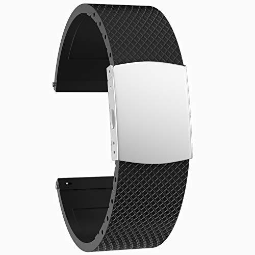 SOUWILA Correa Reloj Recambios Correa Relojes Caucho 20/22/24mm Silicona Correa Reloj con Acero Inoxidable Hebilla Desplegable (20mm, Black-Silver)