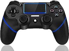 Maegoo Mando para PS4, PS4 Mandos Bluetooth Inalámbrico Gamepad Joystick para PS4 Slim/PS4 Pro con Doble Vibración y 6-Axis Gyro Sensor, Touch Panel y Función de Audio