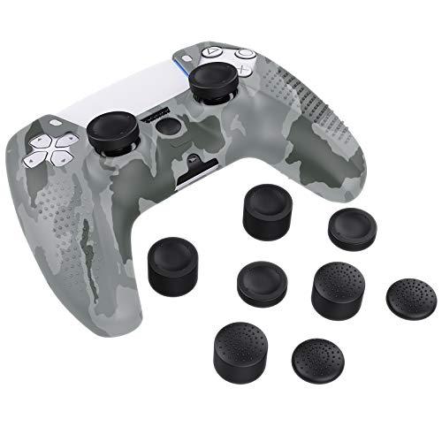MoKo Funda Protectora Antideslizante para Mango de Juego Sony PlayStation 5, de Silicona con 8 Agarres para Pulgares Diseñado a Prueba de Polvo - Gris