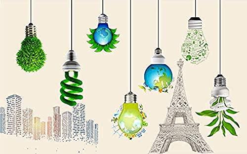 Papel pintado creativo de la construcción de la torre de la planta verde del bulbo de la lámpara Pared Pintado Papel tapiz 3D Decoración dormitorio Fotomural de estar sala sofá mural-430cm×300cm