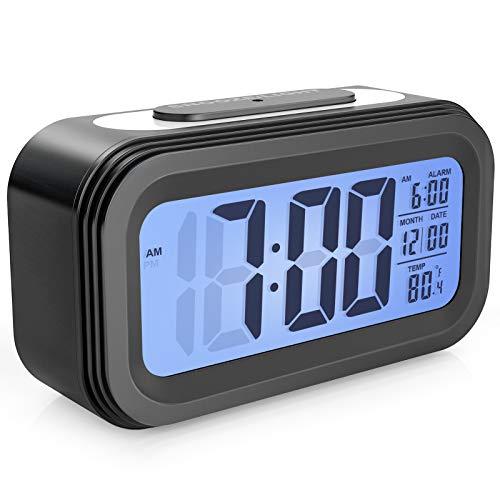 Enllonish Reloj Despertador Digital, Despertador de Pantalla Grande con Luz Nocturna, Hora Fecha Temperatura, Reloj Despertador de Viaje a Batería con Pilas-Negro