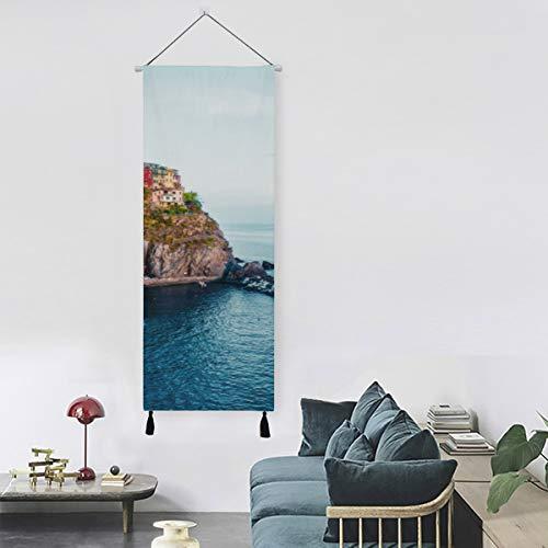 WYYWCY Schöne mediterrane Architektur Landschaft Badezimmer Wandfarbe Gemälde Wandkunst 13 Zoll Breite X 47 Zoll Lange Moderne Wohnkultur Mode Wandkunst Unsere Wohnwanddekoration