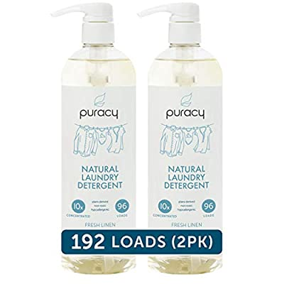 Puracy Natural Liquid Laundry Detergent, Hypoallergenic, Effective, Fresh Linen, 24 Ounce (2-Pack)