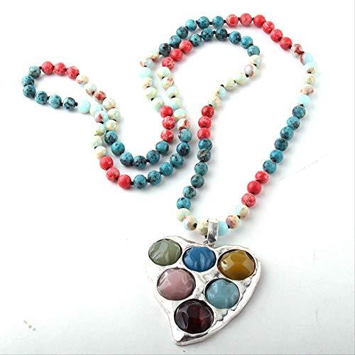 Minekkyes 108 Abalorios Mala Multi Piedra Nudo Corazón Encanto Colgante Collar Mujeres Yoga Collar