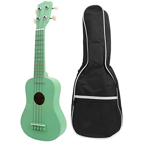 21 Zoll Ukulele 4-saitige hawaiianische Gitarre Basswood Ukulele mit Tragetasche Musikalisches Geschenk für Kinder Anfänger(Grün)