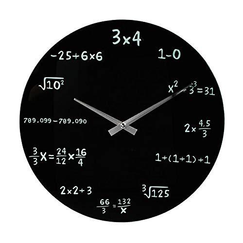 Monsterzeug Mathe Uhr, Uhrzeit in Formeln Kreide-Optik, Uhr für Mathematiker, Zifferblatt mit Formeln, Wanduhr mit Rechen Motiv, 35 cm, Schwarz