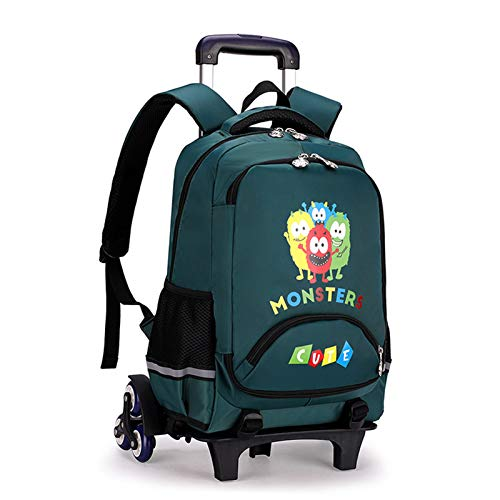 LHY EQUIPMENT Front Opening Trolley Backpack for Children Grades 3-6 Trolley Rolling Can Climb Stairs Lightweight Waterproof Detachable Wheeled Backpack for 8-14 Years Old,Green