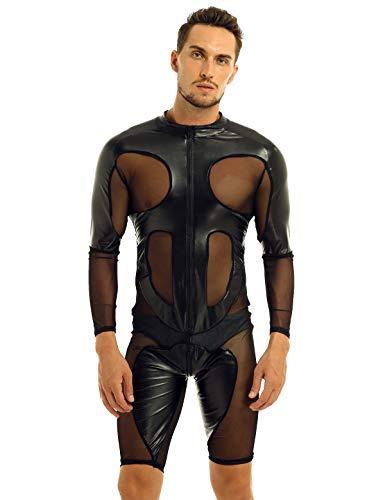 iixpin Herren Body Zip Schwarz Wetlook Bodysuit Langarm Mesh Overall Männerbody Einteiler Herrenbody Leder-Optik Full Overall Schwarz XXL