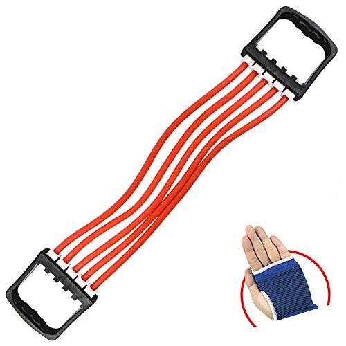 IREANJ Extensor de Pecho Máquina Pecho - Látex portátil Multi-función de tracción por Cable Aptitud del Ejercicio de Resistencia de la Yoga Banda roja Entrenamiento de Fuerza