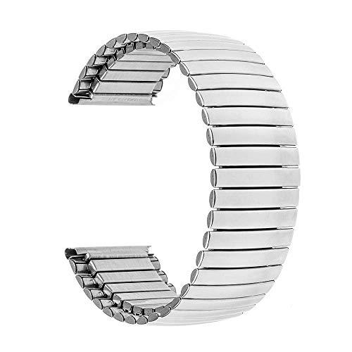 Correa de Reloj Correa de Reloj de Acero Inoxidable elástica 16Mm 18Mm 20Mm 22Mm 24Mm Correa de Reloj de Repuesto Correa Universal Pulsera de eslabones Plata S61 Compatible con Relojes