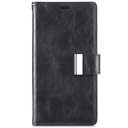 JAWSEU Compatible avec Samsung Galaxy S7 Coque Portefeuille Premium PU Étui Cuir à Rabat Housse de Protection Luxe Rétro Slim Stand Flip Wallet Case pour Femme Homme Fermeture Magnétique,Noir