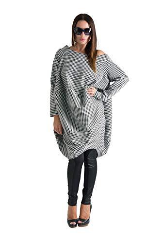 EUG Fashion Damen Trendige Oberteile Langarm Plus Size Lose Pullover Shepherd's Plaid Top mit Reißverschluss hinten - - XX-Large