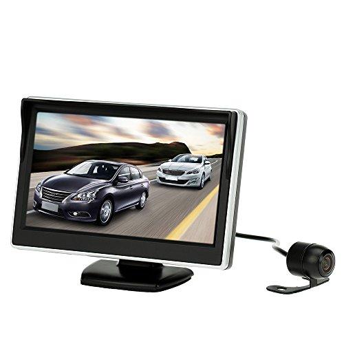 KKmoon Cámara de Marcha Atrás con 5 pulg LCD Monitor de Coche, TFT Color HD 800 x 480 Vision Trasera Monitor y Cámara de Estacionamiento HD, Soporte Multilenguaje