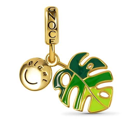 GNOCE Liebm Delicious Monstera Colgante Charms Plata de Ley 18K Chapado en Oro Verde Monstera Hojas Cuentas Charms Fit Pulsera / Collar para Mujeres Niñas Hija
